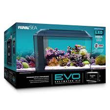 fluval evo marine aquarium kit with reef led lights 57 ltr