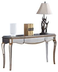 Contemporary Mirrored Sofa Table, Gold Trimmings Contemporary Coffee Table  Sets