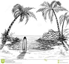 Landscape Pencil Sketches Seascape Drawing With Palm Trees And