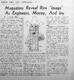 Magazines Reveal Rice 'Image' As Engineers, Money And Ivy