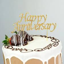 65 Gold Rhinestone Happy Anniversary Cake Topper Efavormart