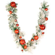 vickerman pre decorated flocked artificial garland 6ft x 12in red