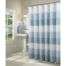 aqua waffle weave fabric shower curtain
