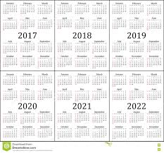 Year To Year Calendar Six Year Calendar 2017 2018 2019 2020 2021 And 2022 Stock