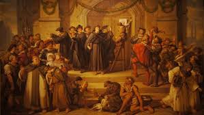 mild mannered martin luther had no idea his theses would rock the  an 1878 painting by julius hubner showing martin luther s 95 theses being nailed to the door