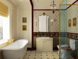 old fashioned interior bathroom decorations white bathtub two toned walls off white bathroom cabinet antique framed mirror glass shower wall