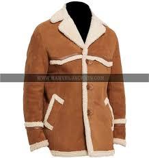 kingsman golden circle harry hart brown suede leather long fur coat mens jacket