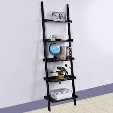 Costway Black 5-Tier Bookshelf Leaning Wall Shelf Ladder Bookcase Storage  Display Furni