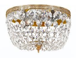 crystorama 2 light golden teak crystal olde brass ceiling mount