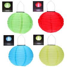 Set Of 10 LED Solar Powered Chinese LanternsChinese Lantern Solar Lights