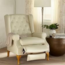com brylanehome queen anne style tufted wingback recliner ecru 0