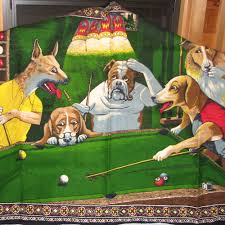 dogs playing pool wall hangings with photos