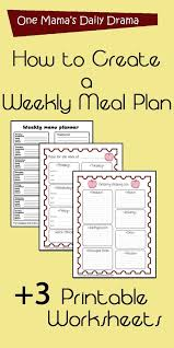 Weekly Meal Planning For One How To Create A Weekly Meal Plan 3 Printable Worksheet