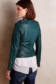 lyst doma leather shrunken moto jacket in blue