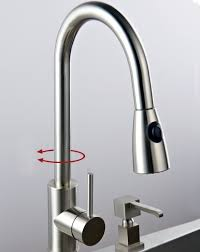 Solid Brass Pull Down Kitchen Faucet Nickel Brushed Finish 0759