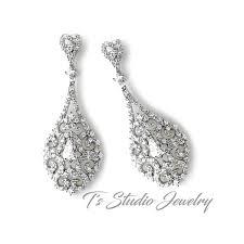 antique silver vintage teardrop bridal chandelier earrings
