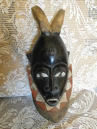 vintage estate hand carved exotic wooden african tribal mask undated free ship