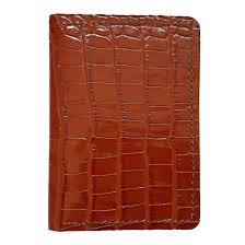 leather bifold vertical wallet tan crocodile pattern