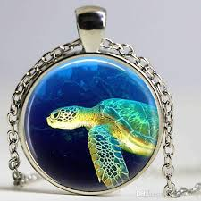 whole vintage sea turtle necklace nautical jewelry marine life ocean beach glass dome pendant silver bonze link chain necklaces tanzanite pendant