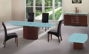 Frosted glass dining table Metal Furniture Depot Cherry Finish Modern Dining Table Wfrosted Glass Top