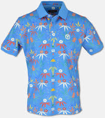 Blue Green Online Carlo Colucci Online Shop Pique Polo Shirt With Floral Print Blue S Purchase Online