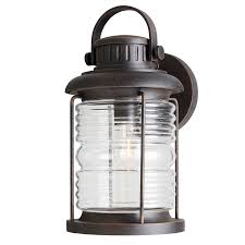 Shop Allen Roth Stonecroft In H Rust Outdoor Wall Light At - Exterior light fixtures