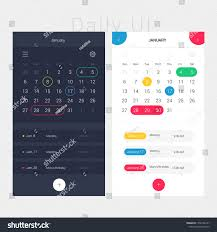 Calendar Interface Design Modern App Design Calendar Planner Daily Stock Vector