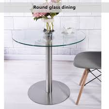 small 80cm clear round tempered glass dining kitchen table chairs cafe style