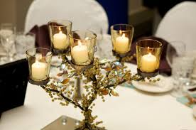 Creative Idea:Romantic Table Decor With Gold Autumn Floral Centerpieces  With Small Clear Glass Candle