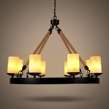 industrial dining room 8 light large rope led chandelier in black finish with cylinder amber frosted