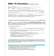 House Contract Form Real Estate Offer Form Template
