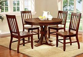 round dining room table and chairs. Unique Room Furniture Of America Castile 5Piece Transitional Round Dining Table Set  Dark Oak In Room And Chairs E