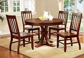 furniture of america castile 5 piece transitional round dining table set dark oak