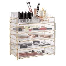 beautify acrylic cosmetic organiser case table storage stand with chagne frame for makeup clear vanity box holder with 4 drawers