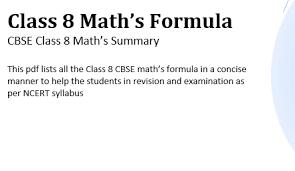 Formulas Of Maths Of Class 8 Pdf Download