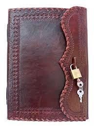 QualityArt Hnadmade <b>Leather Journal</b> Notebook Real <b>Lock</b> Key ...