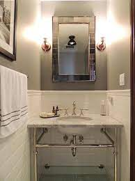 Bathroom With Gray Walls And White Subway Tiles Transitional Bathroom