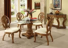 coronado oak finish solid wood pedestal glass top dining