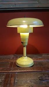 vintage retro lime green atomic saucer mushroom metal shade desk lamp light