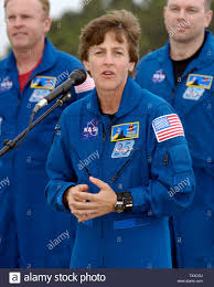 NASA Astronaut, Wendy Lawrence, addresses the media shortly after arriving  the Kennedy Space Center on July 9, 2005. The crew arrived in order to  begin final preparations for Space Shuttle Discovery's launch,