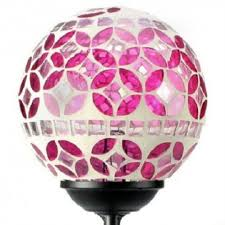pink mosaic glass ball solar garden stake light 12 units case solar whole direct