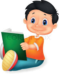 vector ilration of little boy cartoon reading book stock vector colourbox