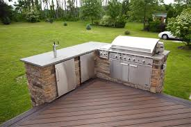 stainless steel outdoor kitchen. Terrific Deck Plans With Outdoor Kitchen Stainless Steel Faucet And Built In Brushed Grill T