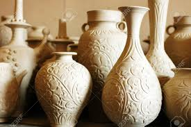 raw vase and jug made of clay ready for being fired stock photo raw vase and jug made of clay ready for being fired stock photo 15398320