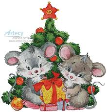 Artecy Cross Stitch. Cute Christmas Mice Cross Stitch Pattern to ...
