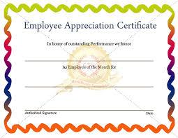 Printable Appreciation Certificates Employee Of The Week Certificate Template