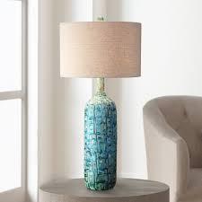 ceramic teal mid century table lamp by possini euro design