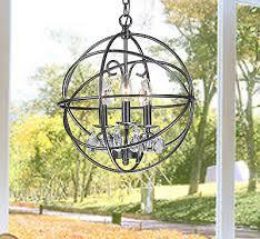 benita 3 light antique bronze metal globe crystal chandelier