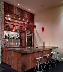 Designs Ideas : Cool Trendy Home Bar With Awesome Bar Table And Grey Bar  Stools Also Unique Hanging Lamp And Wine Shelves Make Your Home More  Complete with ...