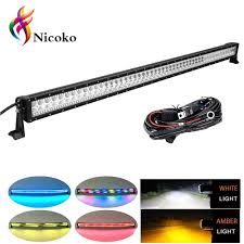 50 Inch Light Bar Halo Nicoko 288w 50 Inch Straight Amber White Led Work Light Bar With Rgb Halo Ring Multicolor Fog Lights Driving Offroad Truck Jeep 4wd Atv Suv Utv With